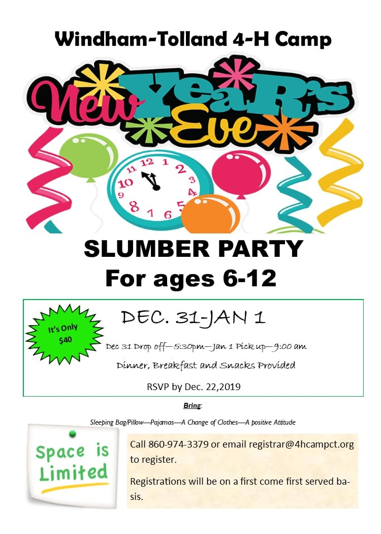 New Year's Eve Slumber Party - Windham-Tolland 4-H Camp