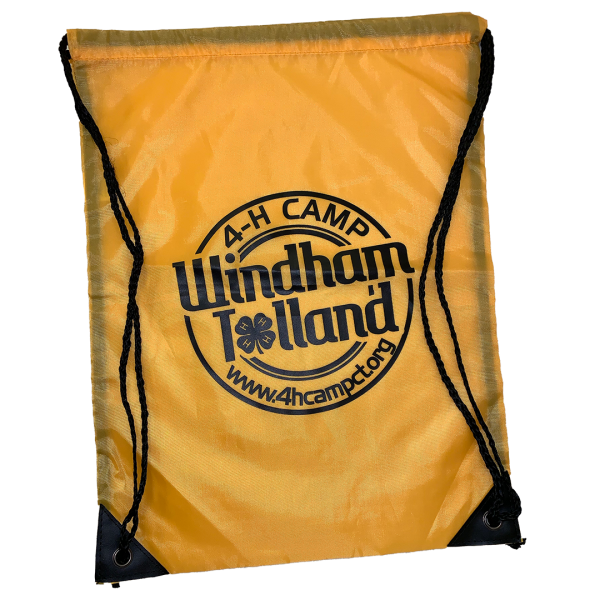 Yellow drawstring bag
